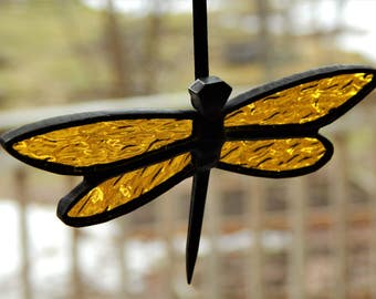 Stained Glass Horseshoe Nail Dragonfly Suncatcher Yellow