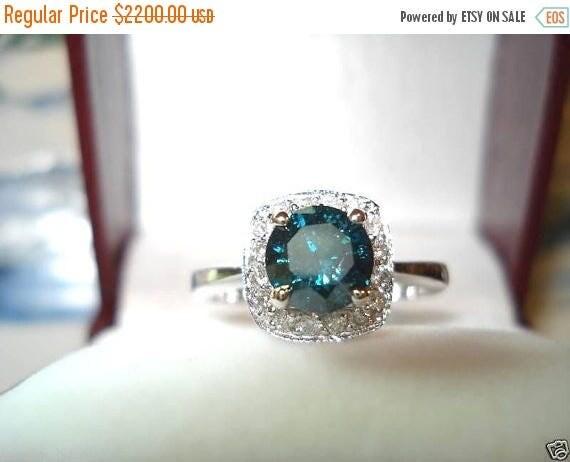ON SALE Fancy Blue Diamond Engagement Ring 1.23 Carat 14K White Gold Handmade Halo Pave