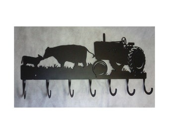 Coat Rack Farm Tractor and Cows, 7 Hook