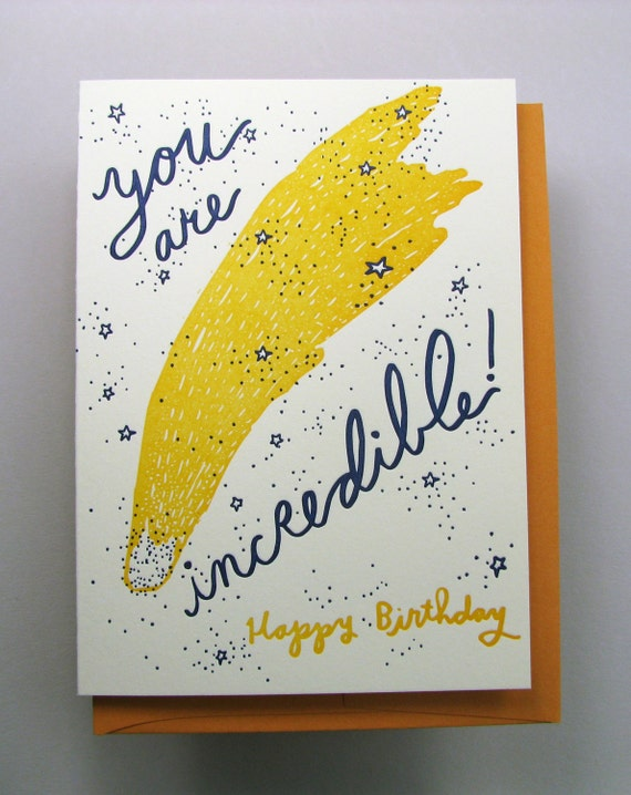 """Letterpress card,  """"You are Incredible"""""""