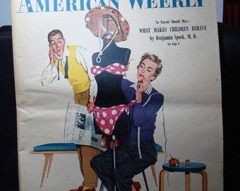 1954 The American Weekly Bob Hilbert BIKIN Large Colored Ad.