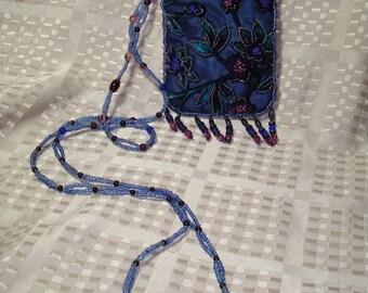 1992 Dark Blue Velvet Beaded Hippie Pouch Evening Bag.