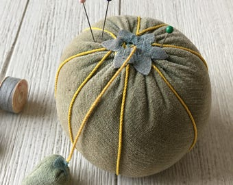 Vintage Green Velvet Tomato Pincushion with Strawberry Emory