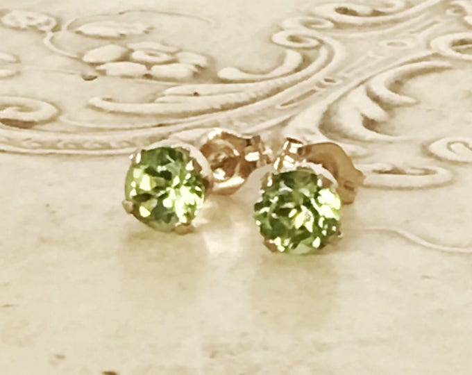 14K Yellow Gold Peridot Earrings Gorgeous Vintage