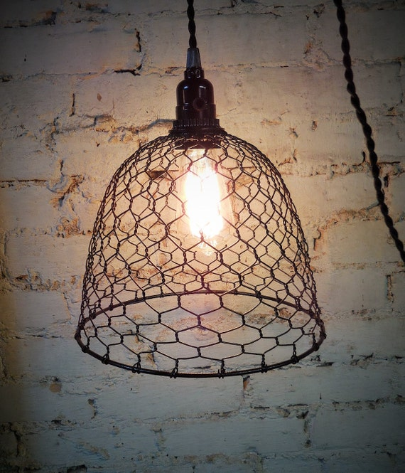 Wire basket pendant light cage swag lamp black industrial - Wire basket chandelier ...
