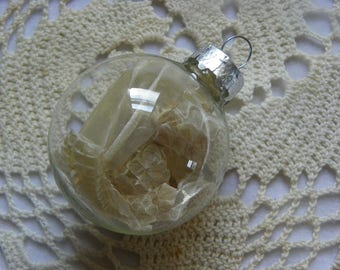 Cruelty Free Real Copperhead Skin Shed Glass Ornament.