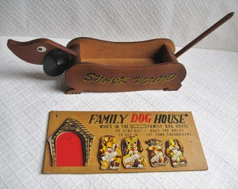 Puppy Pair: Midcentury Snack Hound and Doghouse Plaque