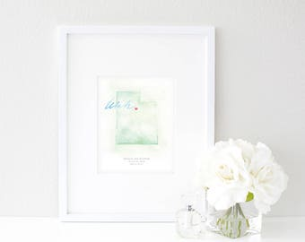 Utah Watercolor Map | Destination Map Print | Personalized Watercolor Map | Honeymoon Map | Anniversary Map | Watercolor Wedding Map