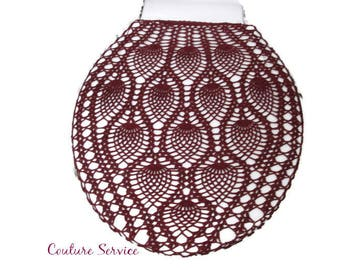 Crocheted Tank or Lid Cover  Pineapple Lace Cotton Burgundy Toilet Seat Commode seat cover Etsy
