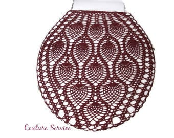 Crocheted Tank or Lid Cover, Pineapple Lace, Cotton, Burgundy, Toilet Seat Cover, Toilet Tank Cover, Commode Tank Cover, Commode Lid Cover