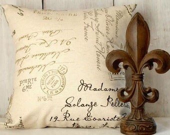 Postal Script Pillow Cover - Neutral Pillow - French Script - Penmanship - Cottage - French - Farmhouse - Country