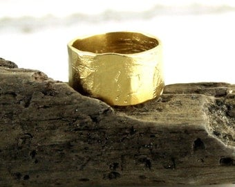 Wide Band Ring Rustic Style Gold Vermeil