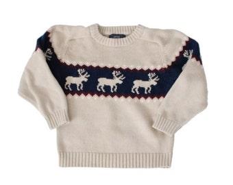 sale // Vintage 90s Moose Ugly Christmas Sweater - Kids Size 7 - Childrens, reindeer, beige cotton