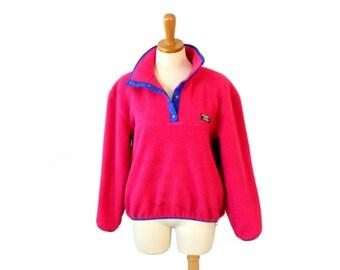 Vintage 90s LL Bean Pullover Fleece Jacket // Women Medium // hot pink, blue Made in America