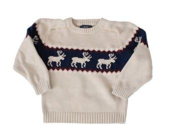 60% off sale // Vintage 90s Moose Ugly Christmas Sweater - Kids Size 7 - Childrens, reindeer, beige cotton