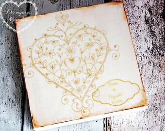 Wedding CD/DVD case, handpainted, personalized wedding keepsake box