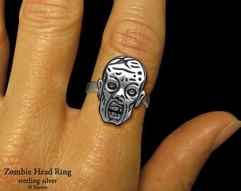 Zombie Head Ring Sterling Silver Zombie Walker Ring
