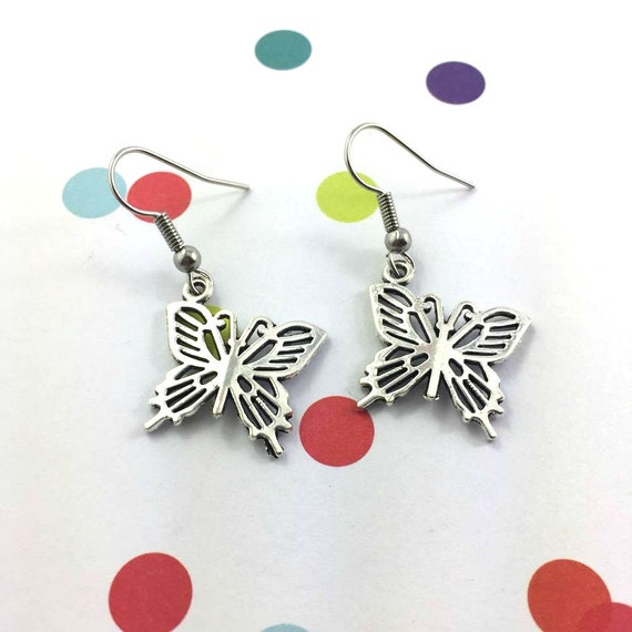 little light butterfly silver metal earring charm on hypoallergenic stainless steal hook, les perles rares