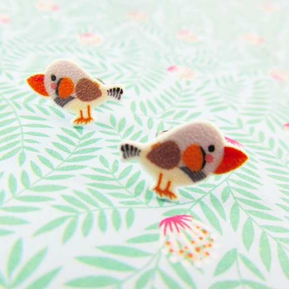 Zebra finch, earring, zebra finch earring, zebra fin bird,grey, orange, zebra,  print on plastic, stainless stud, handmade, les perles rares