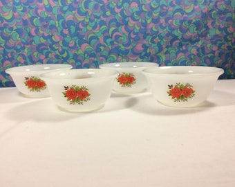 Vintage Phoenix Opalware Red Rose Bowls Small Set of 4 Milk Glass Retro 60s 70s