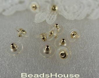 12pcs (5x10mm)Rubber Golden Plated  Earring Back Stoper ,Nickel Free