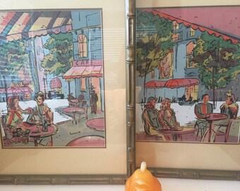 "JACK AMOROSO PRINTS Framed Under Glass, Mid Century Prints, Street Cafe European Mid Century  17 1/2"" x 21 1/2"" Each at Modern Logic"