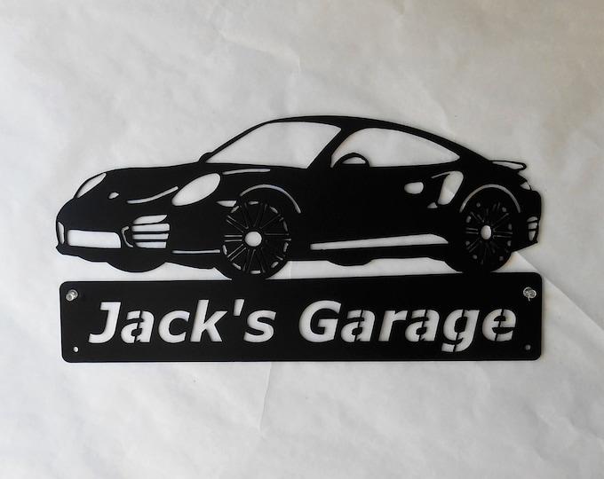 Porsche 911 Turbo -Metal Car Sign - Personalized - Metal Wall Art - Garage Sign - Satin Black - Man Cave- Car Art