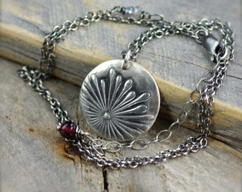 Fine Silver  Wildflower Necklace.  Fine Silver Pendant.  Layering Necklace.