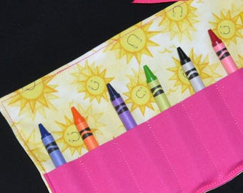 Crayon Roll, sunshine birthday party favor, you are my sunshine, Crayon Holder, stocking stuffer, Easter gift, girls birthday