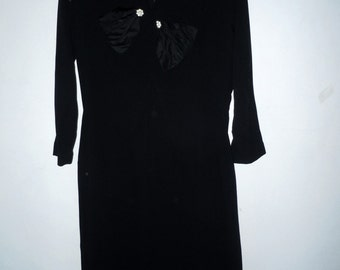 Womans 1940s Vintage Black dress with Rhinestone buttons