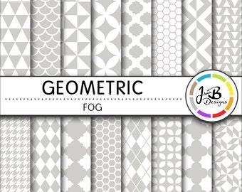 Geometic Digital Paper, Fog, Gray, Gray and White, Tribal, Tiangles, Digital Paper, Digital Download, Scrapbook Paper, Digital Paper Pack