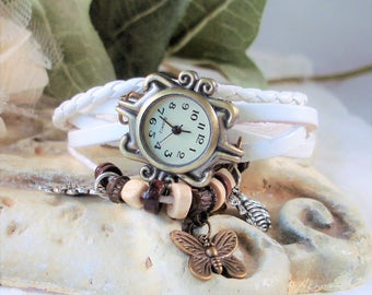 White on White Leather and Cord Wrap Watch - Butterfly, Bee, Sunflower - Garden watch, Ornate Bronze Case