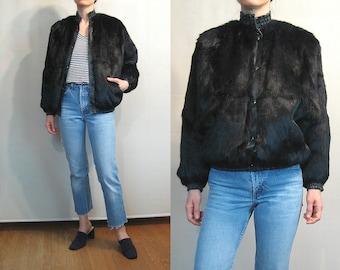 Black Rabbit FUR + Leather Bomber Jacket with Padded Lining