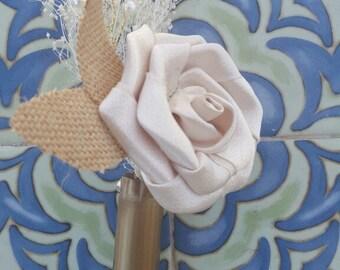 Shotgun Shell Boutonniere, Shotgun Groom Boutonniere, Groom Wedding Flower, Fabric Rose, Groomsmen Flowers, Pin on Flower, Rustic Wedding