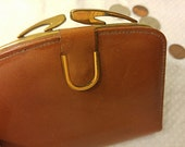 Leather Wallet-Vintage English Highland Leather Small Wallet-Smooth Warm Brown Folding Leather Money Billfold-Small Leather Change Purse