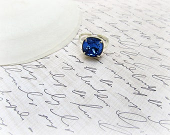 Sapphire Cushion Cut Adjustable ring