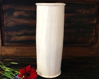 "Tall White Pottery Vase, White Ceramic Home Decor, Flower Vase, Artisan Vase, Contemporary Centerpiece, French Country Decor, 13"" H."