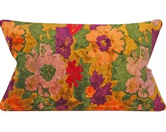 Vintage Velvet Pillow Cover - 12 x 22 inch lumbar - Floral Velvet - Bohemian - mid century - cotton velvet - ready to ship