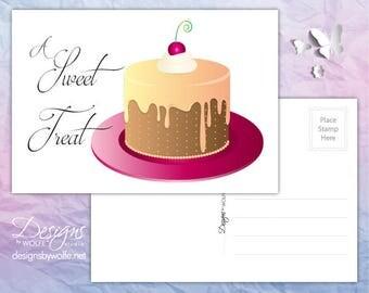 Printable Cake Cards, Printable Invitation, Cake Cards Printable Postcards, Postcards Printable