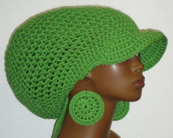 Apple Green Large Brimmed Cap Hat with Drawstring & Earrings Dreadlocks by Razonda Lee Razondalee