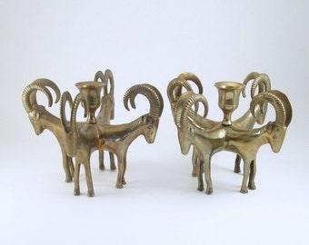Vintage Brass Ram 4 Candle Holder, Hollywood Regency, candle holder, Gazelle, Ram, Deer, Mid Century Bookends