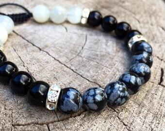 SURRENDER- Snowflake Obsidan, Black Obsidian and Moonstone Wrist Mala Bracelet.