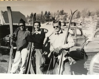 Vintage Ski Photo - Ski Photograph - Ski Collectible - Old Photo - Vintage Resort - Skier - Winter Sport - Men - Old Car