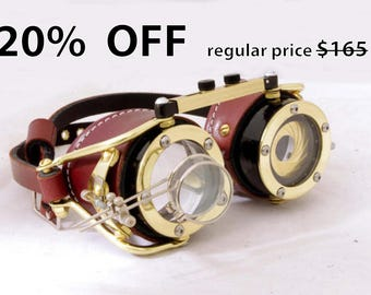 Steampunk goggle with IRIS APERTURE and magnifier Brass LARP Brown