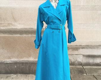 Vintage Turquoise London Fog Trench Coat with Tailored Waist medium large