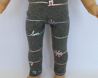 "18"" American Girl Doll Leggings, Knit Gray, Silver, Pink"