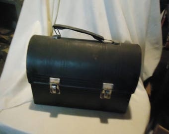 Vintage Black Metal Aladdin Dome Lunch Box, No thermos, collectable, lunch kit,