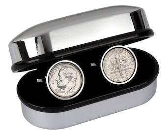 Custom Cuff Links Wedding Groom  - Wedding cufflinks - US 10 Cent Dime Cufflinks - 100% Satisfaction - 3 day shipping