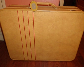 Outstanding Suitcase Luggage Imperial Mid Century Butternut Tan Red Accent Stripes Clean Clean