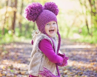 Crochet Earflap Pom Pom Hat with Tassels, Baby Pom Pom Hat, Newborn Earflap Pom Pom Hat, Crochet Baby Hat, Newborn Hat, Newborn Photo Prop